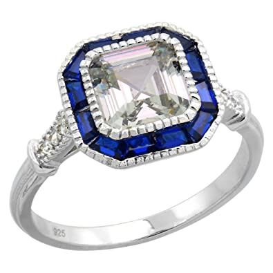 asscher cut tv product halo sapphire engagement ring diamond