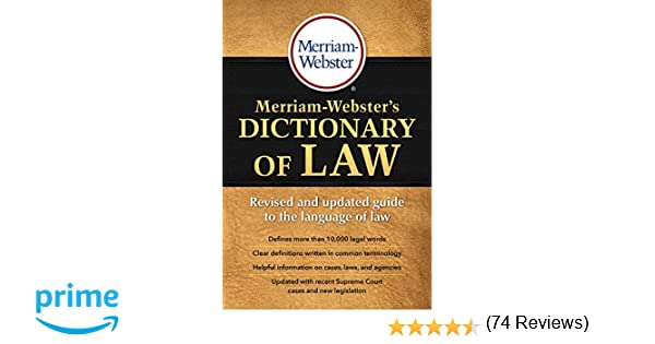 Merriam Websters Dictionary Of Law Revised Updated C 2016 Webster 9780877797357 Amazon Books