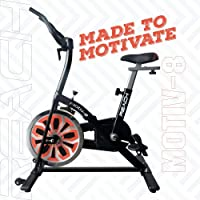 REACH Motiv-8 Spin Bike for Weight Loss at Home | Exercise Fitness Spinning Cycle Equipment for Indoor Home Gym | Smooth Cycling Experience with 14 Kg Flywheel