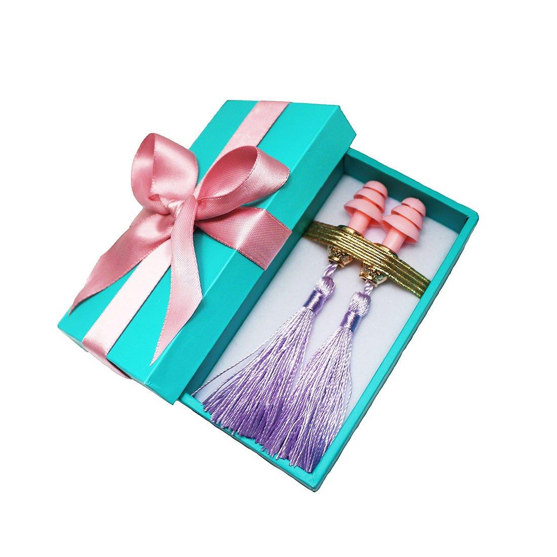 Gift Boxed Earplugs - Audrey Hepburn Breakfast at Tiffanys, Purple Tassel, Handmade