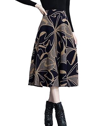 b8115699e92ec Femirah Women s Wool Midi Skirt A Line Floral Skirt Vintage Plaid Swing  Skirts 20 Colors (