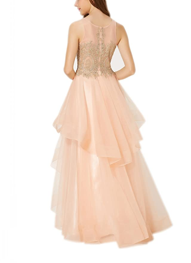 New Vogue Womens Sexy embroidery applique Prom Dresses Long Asymmetric Layered Tulle Formal Prom Gowns at Amazon Womens Clothing store: