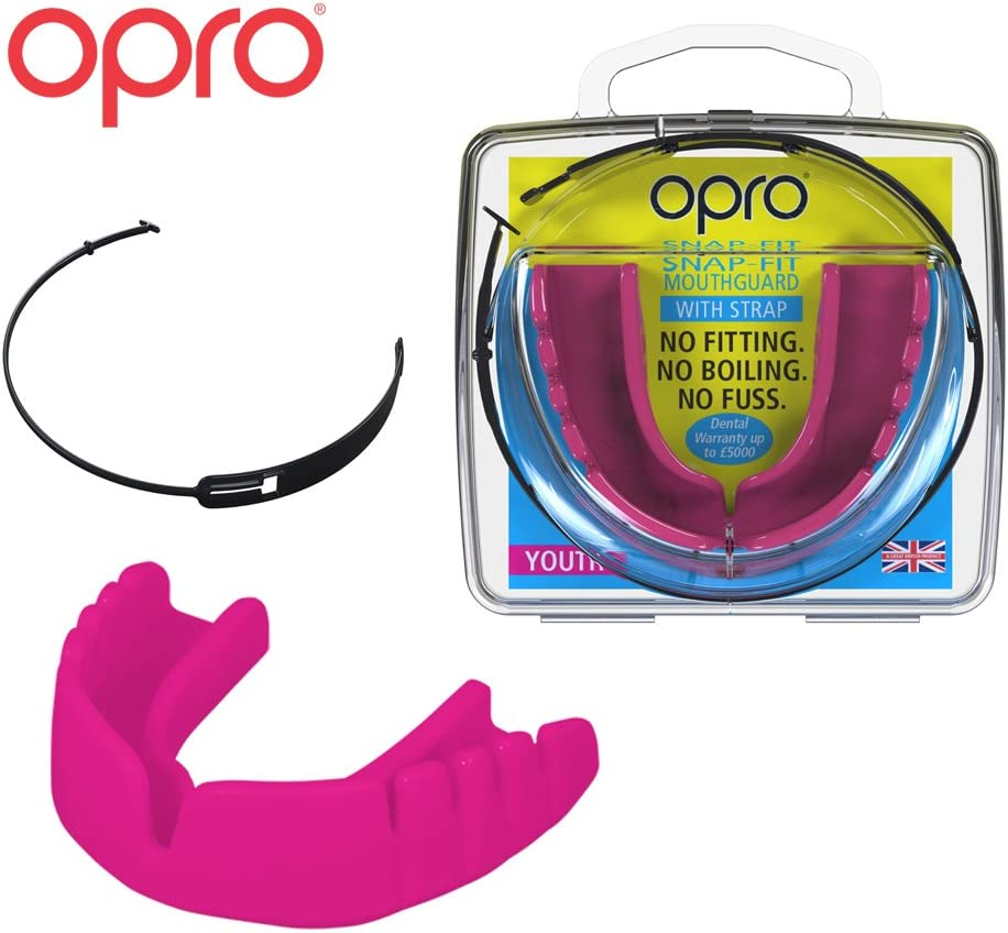 OPRO Snap-Fit Mouthguard | Gum Shield + Strap for Ball, Combat and Stick Sports -18 Month Dental Warranty (Adult and Kids Sizes)