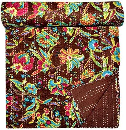 Indian Handmade Bohemian Bedspread 90x108 Kantha Quilt Gudri Handmade Kantha Ethnic Stitch Decorative Gudri Print Queen Size Quilt
