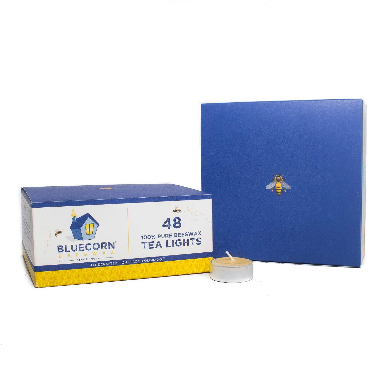 Bluecorn Beeswax 100% Pure Beeswax Tea Lights - Metal Cups (48-Pack, Raw) by Bluecorn Beeswax