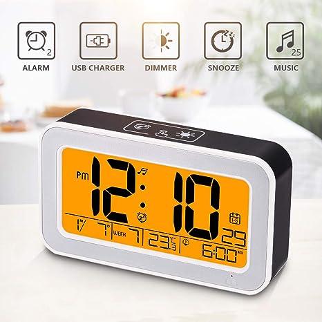 Amazon.com: Music Alarm Clock, Digital Clock for Bedroom with Dimmer ...