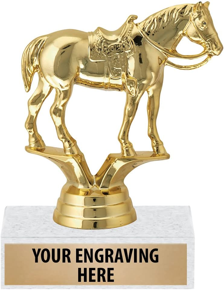 Horse with Saddle Award Trophy Prime Crown Awards 6 Gold Quarter Horse Trophies