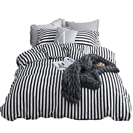 Amazoncom Clothknow Ticking Stripe Bedding Sets Twin Size Duvet