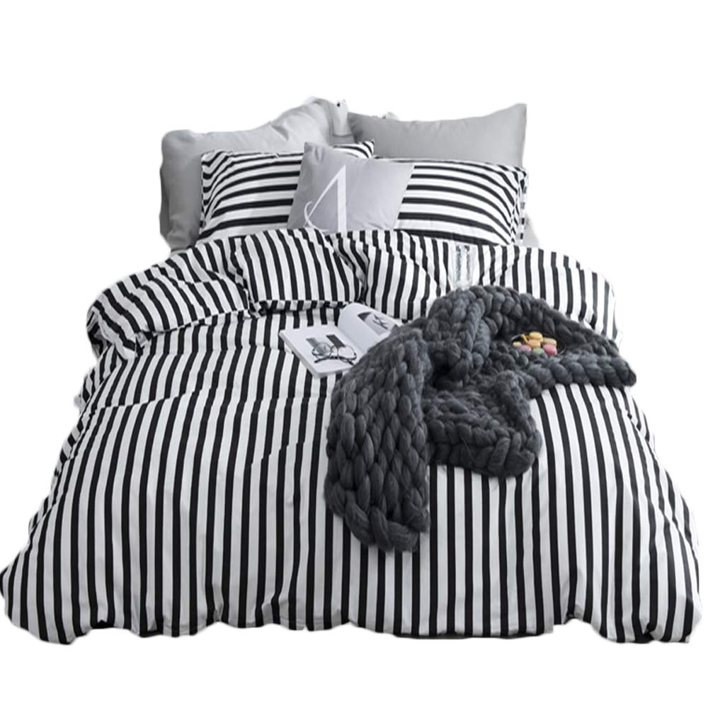 CLOTHKNOW Stripe Full/Queen Duvet Cover Sets White and Black Ticking Bedding Sets for Boys Girls 100 Cotton 3 Pieces Reversible - 1 Duvet Cover with Zipper Closure 2 Envelope Pillowcases Standard