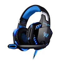 Kotion each Fone de Ouvido Gamer G2000 Headset supra-auricular LED com Microfone PS4 Xbox Notebook PC MAC Laptop Preto e Azul