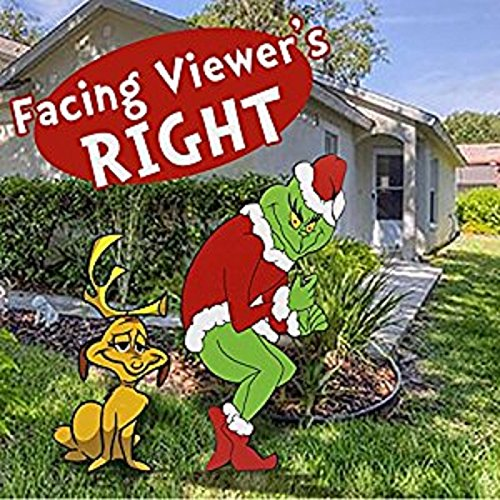 Grinch Stealing Christmas Lights Facing Right + -