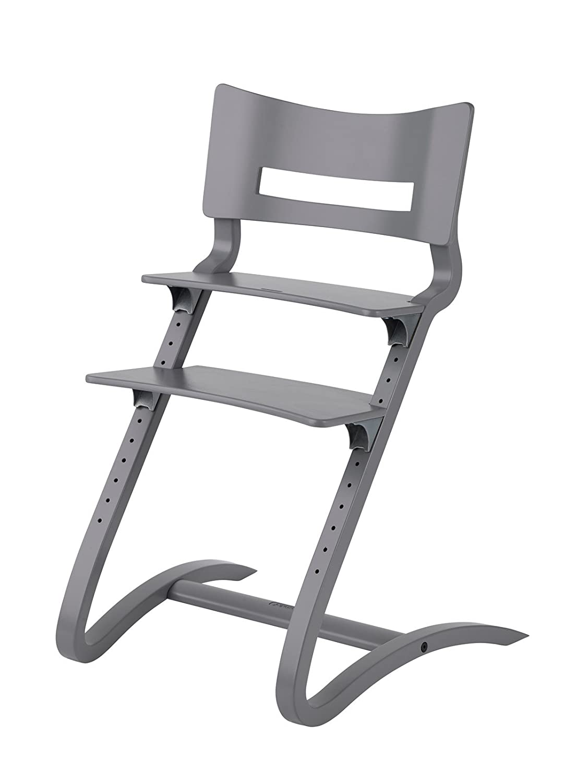 Kinderstuhl Kissen cool grey Erwachsenenstuhl mit Babyb/ügel Hochstuhl Tablett grau Leander Stuhl grau lackiert
