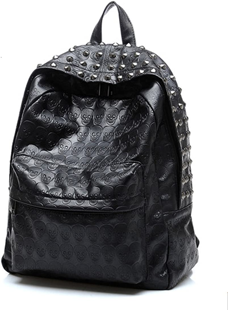 iMaySon Hot Western Gossip Girl Punk Skull PU Leather Women Backpack Shoulders Book Bag