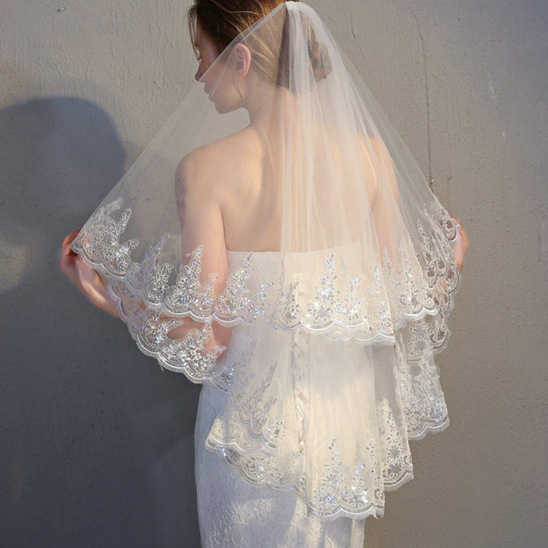 Kalos Dress Shop 2 Tier Lace Silver Lined Beaded Edge Fingertip Length Bridal Wedding Veil