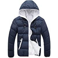 LOOKATOOL Men's Slim Casual Warm Jacket Hooded Winter Thick Coat Parka Overcoat Hoodie
