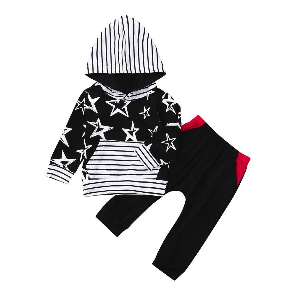 Chandal Bebe Niña, Bebe Niña, Camiseta De Manga Larga De Bebé Recién Nacido Star Hoode Camiseta De Punto + Estampado De Tela YOYOGO