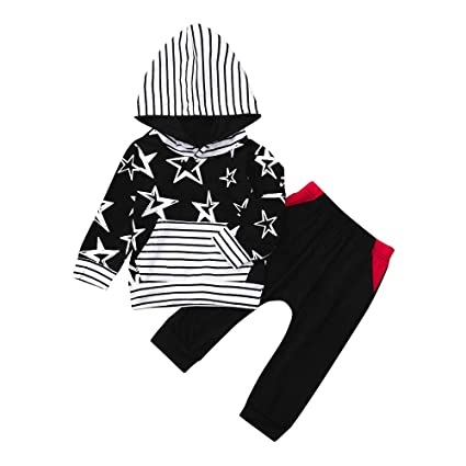 7557063be823 Sikye Toddler Baby Boy Long Sleeve Sweatshirt Star Hooded Top+Pants Clothes  Set 2Pcs (