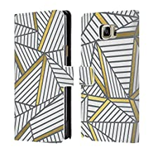 Official Project M White Gold Abstract Lines Two Tone Leather Book Wallet Case Cover For Samsung Galaxy Note5 / Note 5