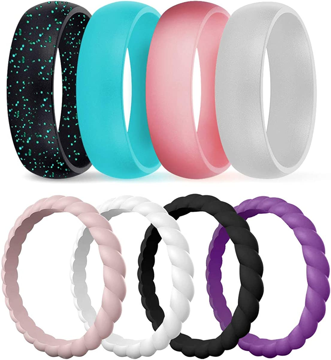 It is a graphic of Silicone Wedding Ring for Women, Durable Rubber Bands for Beach Workout Travel Sports Females- Add These Ring to Your Fashionable Matching Clothes,
