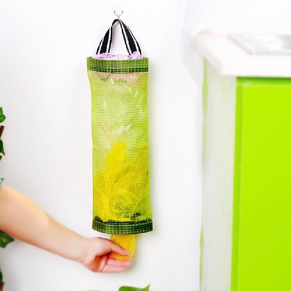 Surenhap 2 Pcs Dispensador de Bolsas de plástico Organizador de Bolsas Hanging Mesh Rubbish para el hogar, Cocina, Cuarto de baño, Oficina - Verde