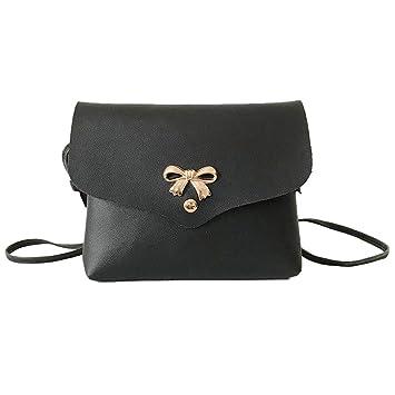 c3f0249c49098 Rovinci Retro Frauen Mini Leder(PU) Schultertasche mit Schleife Hady  Umhängetasche Damentasche Einfarbig Schulterbeutel
