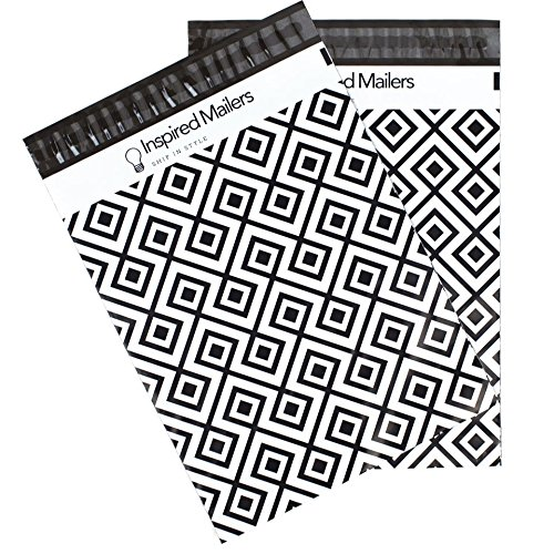 Inspired Mailers Poly Mailers 10x13 Geometric Pattern – Pack of 100 – Unpadded Shipping Bags