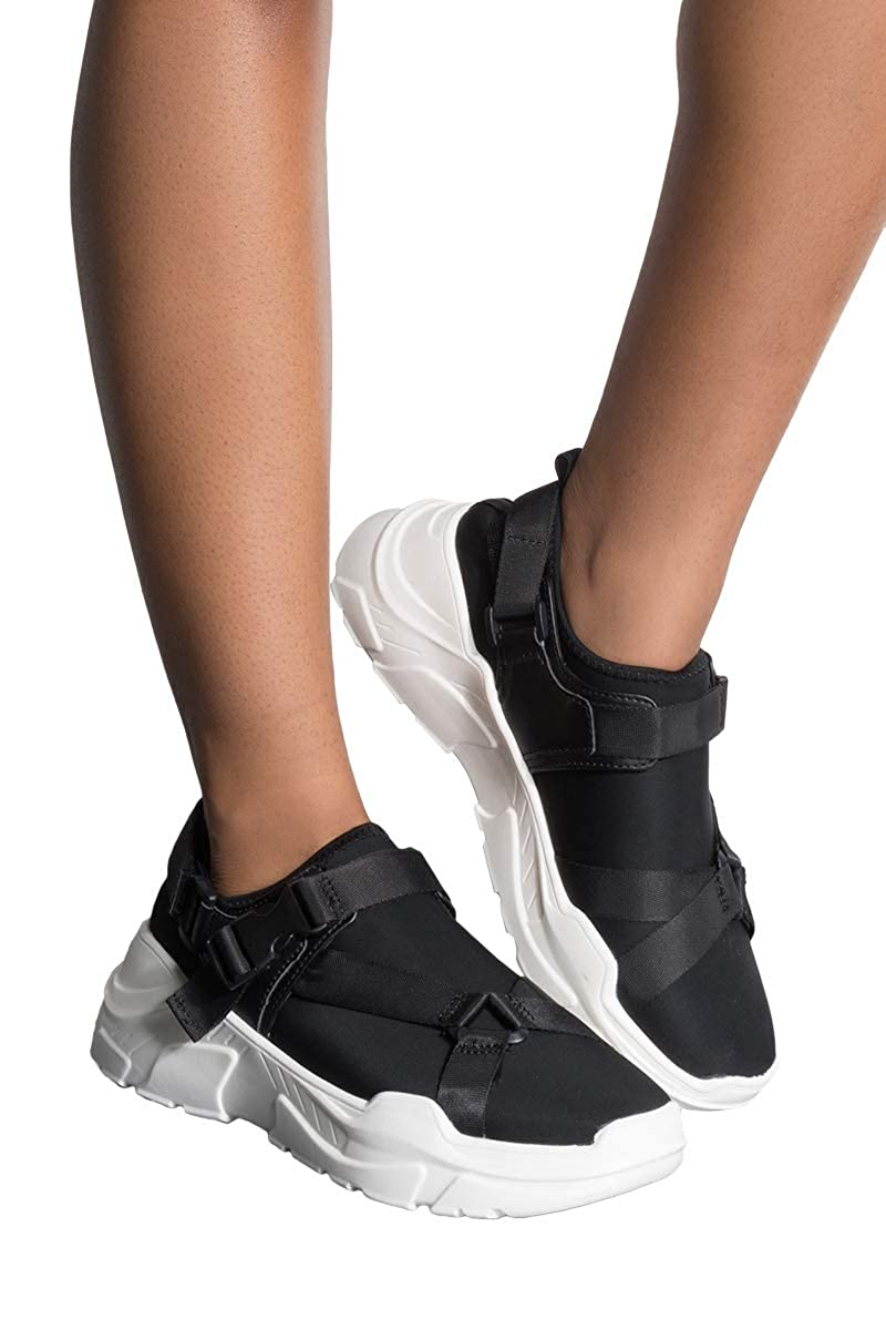 CAPE ROBBIN Buckle Strappy Thick Chunky Sole Slip On Dad Sneaker Trainers