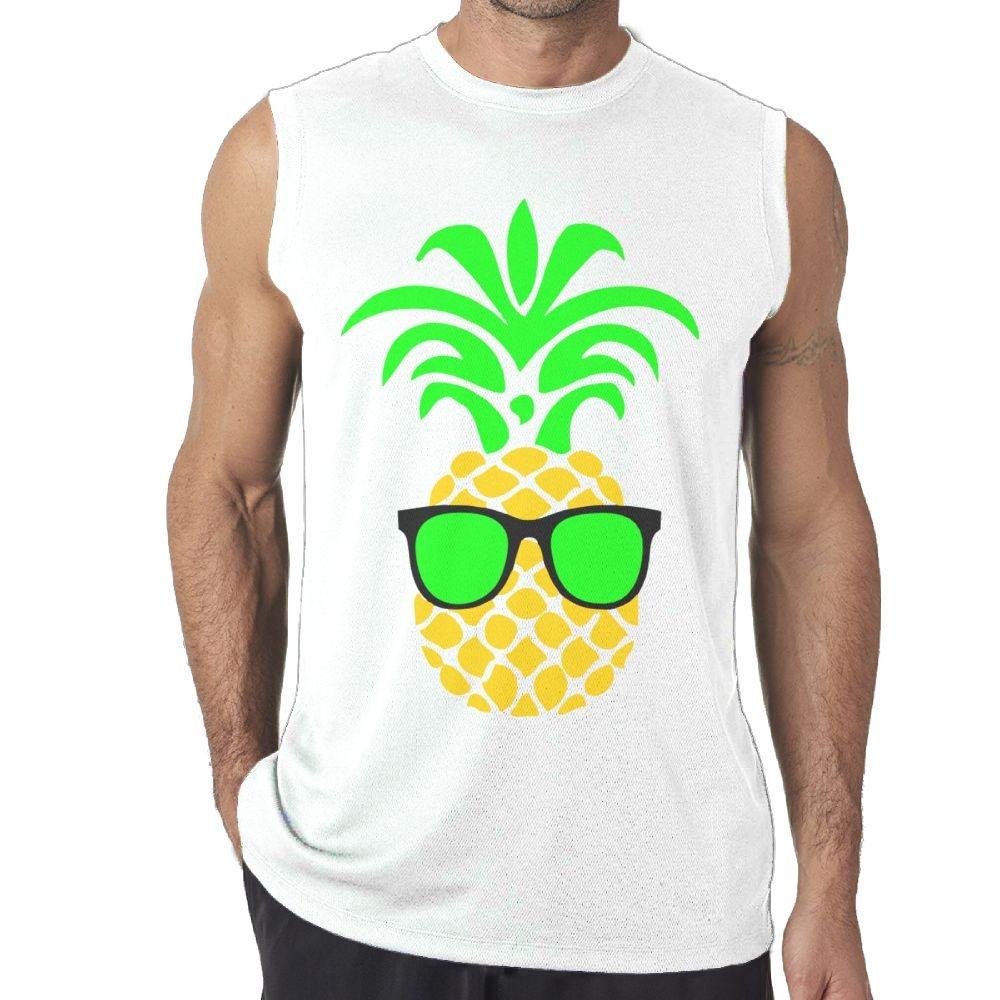 Riokk Az Sleeveless Tanks Top T-Shirt Fit Mens A Handsome Pineapple with Glasses Casual