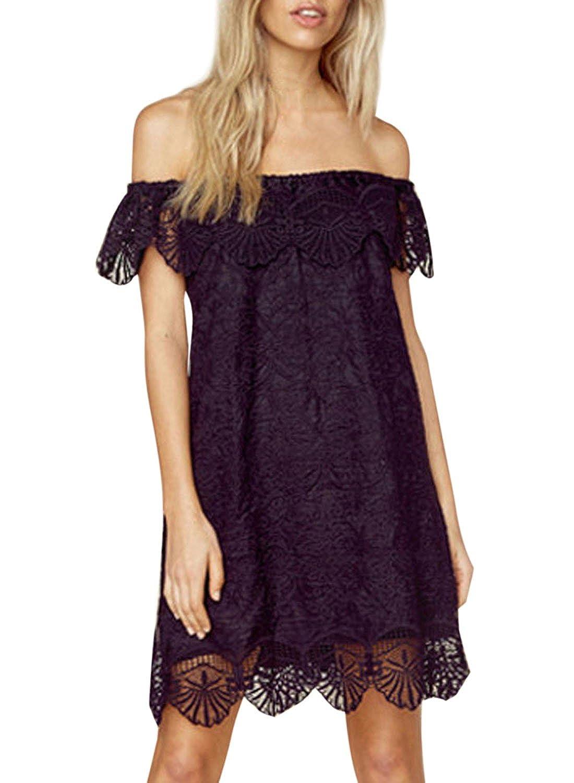 Azbro Women's Slash Neck Off Shoulder Short Sleeve Lace Mini Dress, Black S