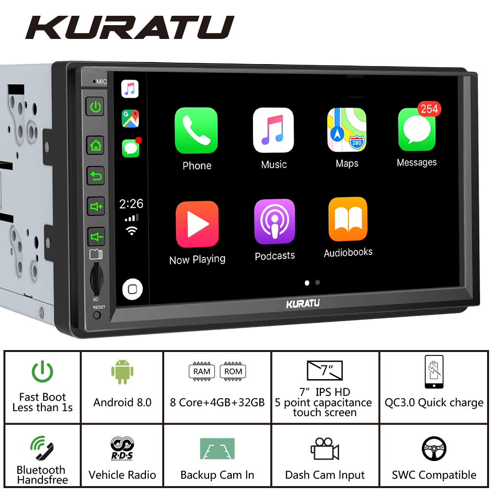 "KURATU Double Din Android Car Stereo Support WiFi Hotspot//Mirror Link//Bluetooth//2S Fast Boot//Steering Wheel Control Android 9.0 Car Radio with GPS Navigation 7/"" Touchscreen Car Multimedia"