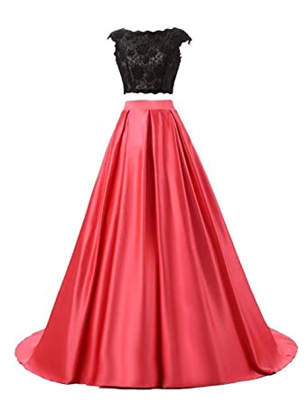Spitzen Brautjungfer Abendkleid Zwei Stueck Satin Damen Party Kleid Ballkleid Vickyben Langes EDYWI9H2