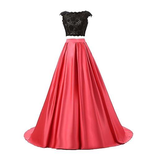 Vickyben Women Two-Pieces Lace Satin Evening Dress Bridesmaid Dress Ballgown Prom Dress