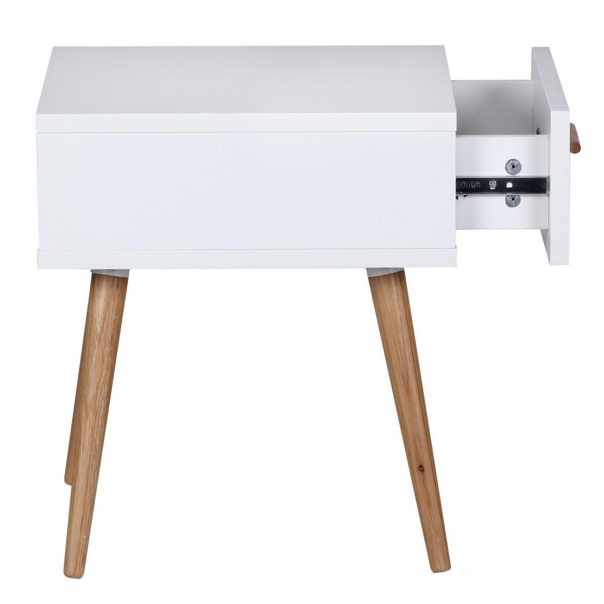 Nachtschrank nordisch Nachtkommode Beine und Griff Holz Nachtkonsole im skandinavischen Retro Look FineBuy Design Retro Nachttisch SKANDI 40 x 46 x 42 cm wei/ß matt mit Schublade