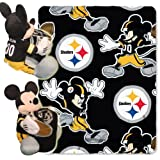 Officially Licensed NFL Pittsburgh Steelers Mickey Mouse Pillow with Fleece Throw Blanket Set