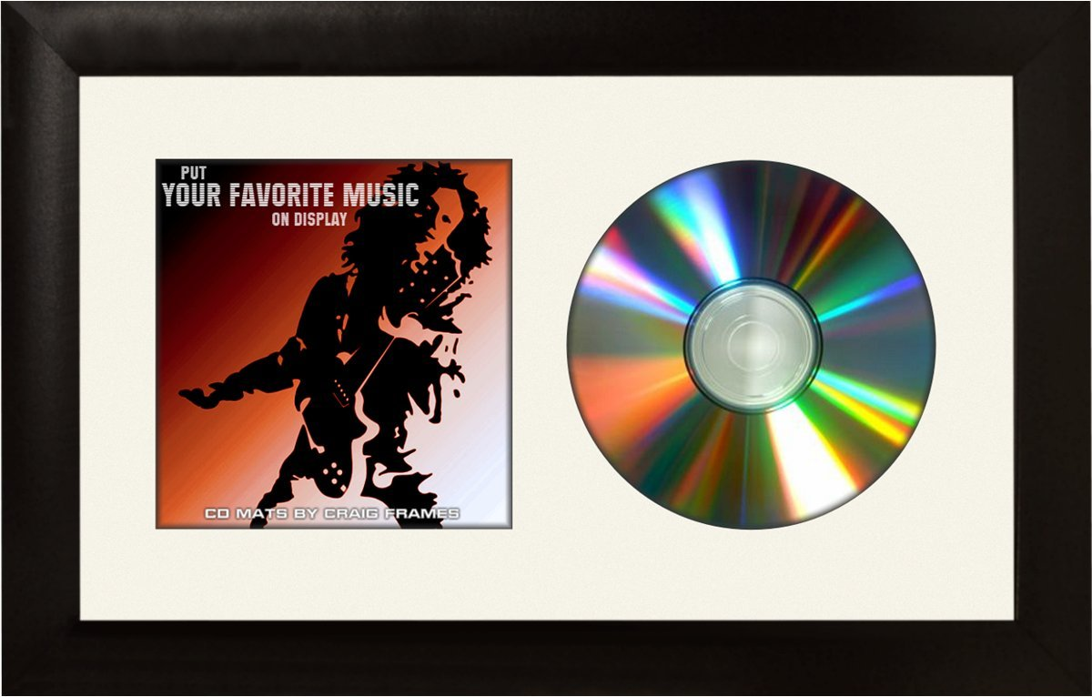 Craig Frames 7x12 White CD Display Mat Complete w/ 1'' Wide Black Frame (CD1WB3WH) by Structural Industries