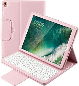 iPad Keyboard Case 9.7 iPad 6th 2018 5th Generation 2017 / iPad Pro 9.7 Leather Stand Durable Detachable Magnetic Smart Cover Auto Sleep Wake Wireless BT Keyboard with iPad Air 2 & 1 (Rose Gold)