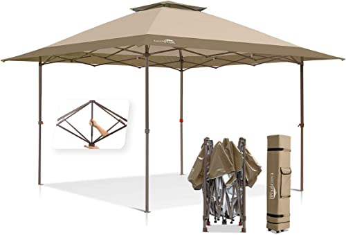 EAGLE PEAK 13'x13' Straight Leg Pop Up Canopy Tent Instant Outdoor Canopy Easy Single Person Set-up Folding Shelter w/Auto Extending Eaves 169 Square Feet of Shade Beige/Brown
