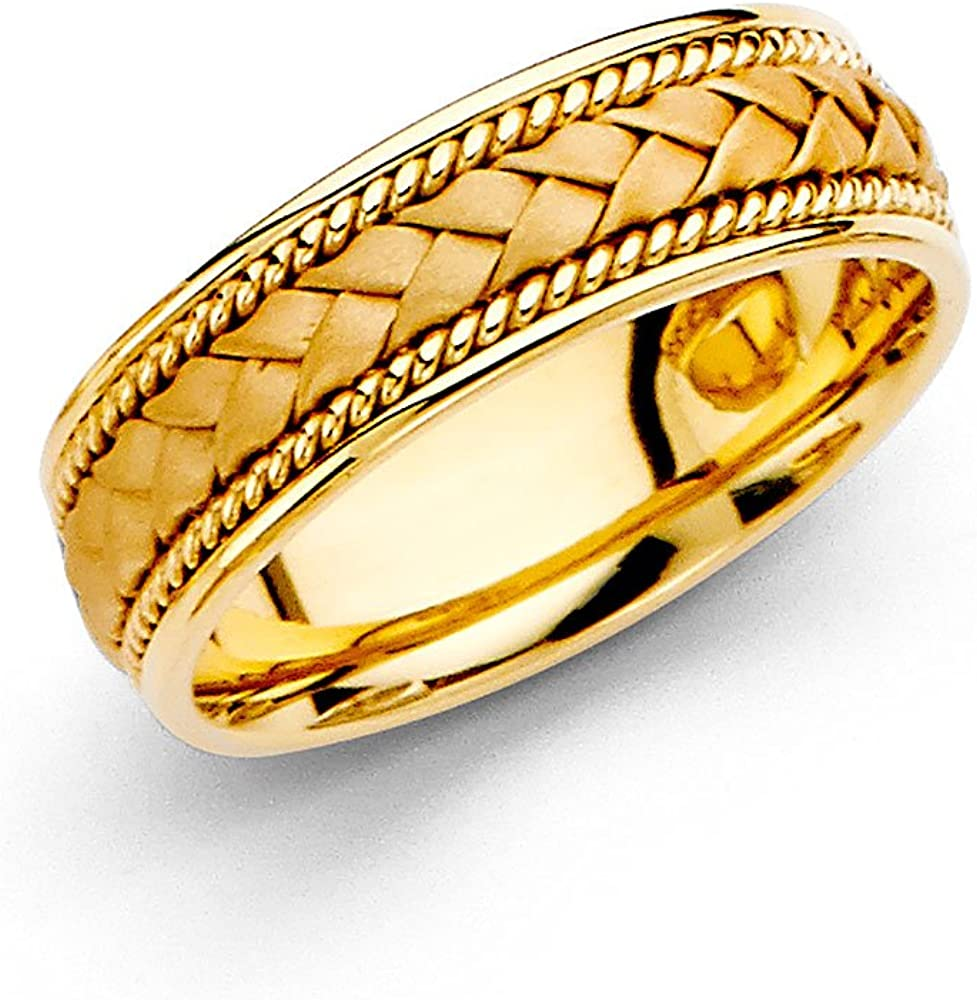 Wedding Ring Solid 14k Yellow Gold Band Rope Braided Design Comfort Fit Satin Style Men Women 6 Mm Amazon Com