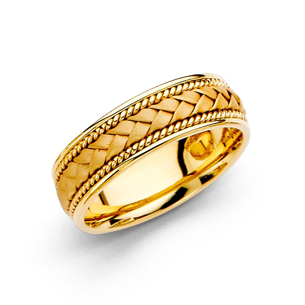 Wedding Ring Solid 14k Yellow Gold Band Rope Braided Design Comfort Fit Satin Style Men Women 6 mm Size 12 by ZenJewels