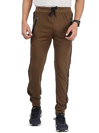 3e1dcee715b2e Zara enterprises Men's Stripped Brown blueLower Trackpants Gym Wear Night  Wear Lounge Wear (Large)