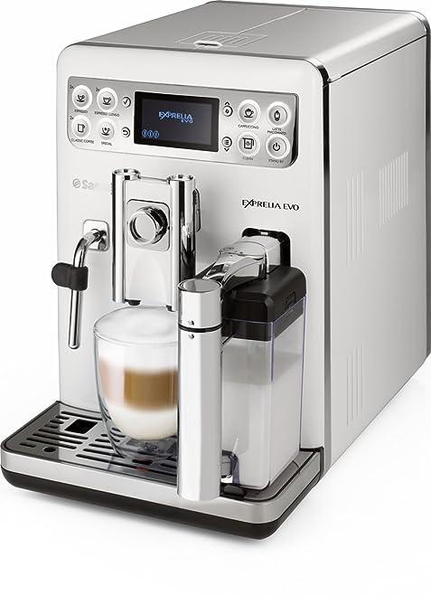 Saeco Exprelia EVO - Cafetera espresso súper automática, con espumador de leche clásico y recipiente para leche, color blanco