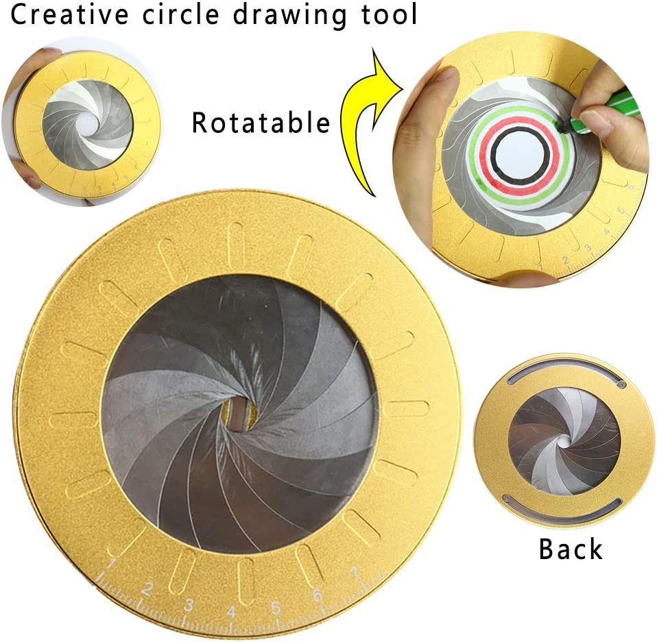 Aluminum Alloy Circle Drawing Maker Tool Round Circle Template Ruler Tool Adjustable Measurement Measuring Template Tool Ring Circle Making Tool