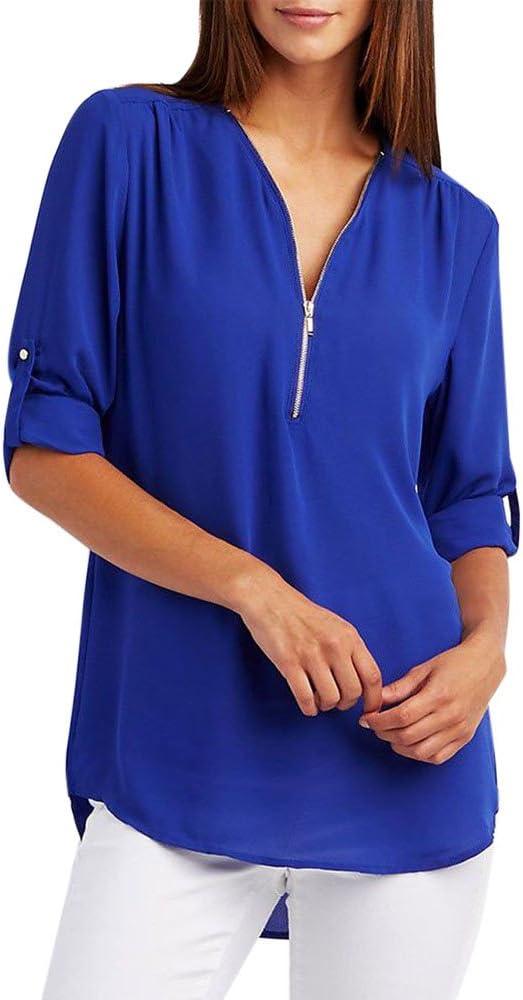 Riou Camisa de Mujer Camiseta con Cuello en v Top Color sólido Camisa de Manga Larga con Cremallera Ajustable Mujer Sexy Tamaño S-XXL: Amazon.es: Ropa y accesorios