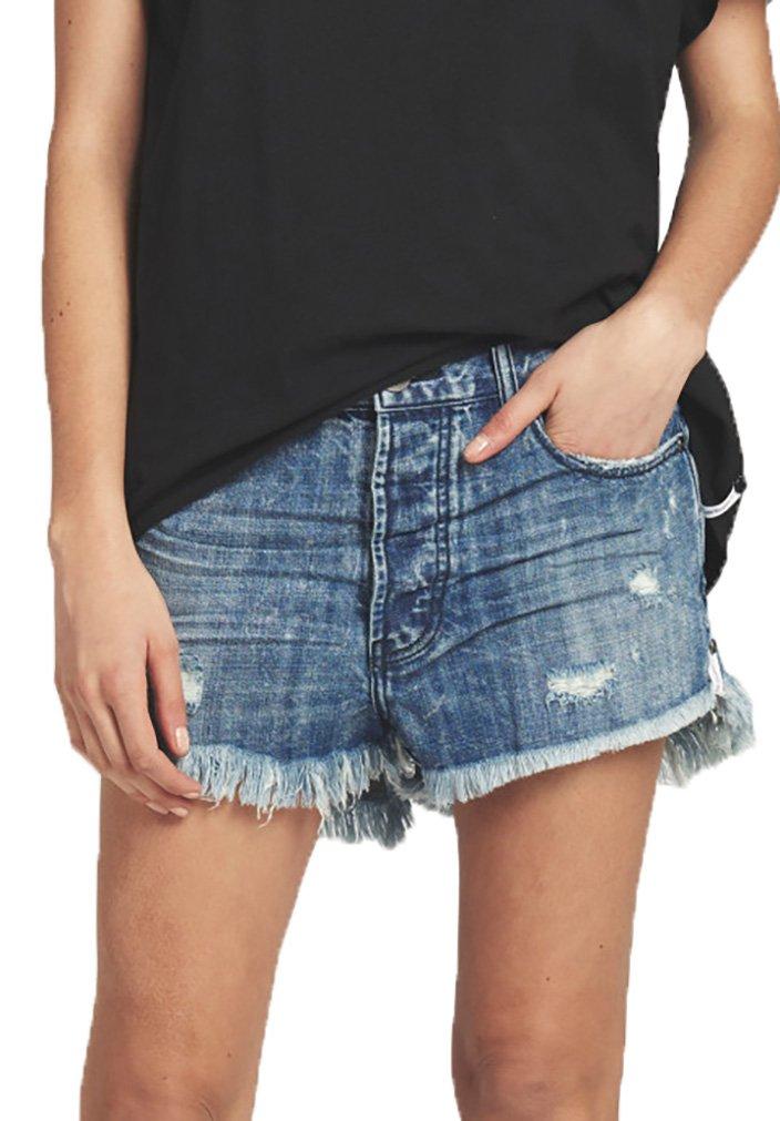 One Teaspoon Outlaws Mid Length Denim Shorts in Blue Society, 25