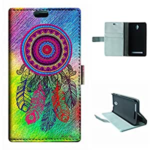 Zenfone C Case, SoloShow® New ASUS Zenfone C 5.5 inch Case Dream Catcher with Feathers pattern Luxury Wallet PU Leather Case Flip Cover Built-in Card Slots (Campanula)