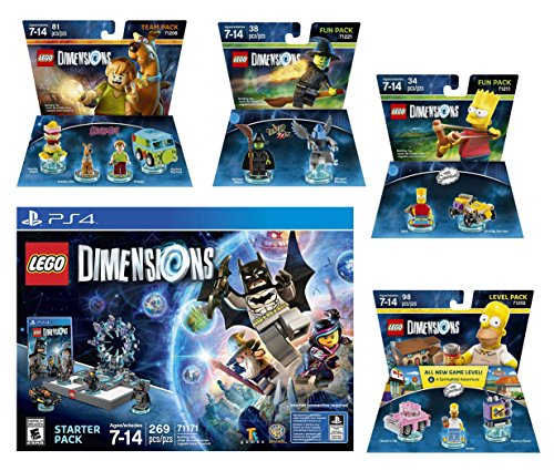 Lego Dimensions Starter Pack + The Simpsons Homer Simpson Level Pack + Bart Simpson Fun Pack + Scooby Doo Team Pack + The Wizard Of Oz Fun Pack Playstation 4 PS4 by WB Lego