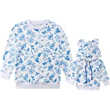 Family Matching Floral Print Long Sleeve Pullover Sweatshirt Mother Daughter Fashion Hoodie Tops Blouse Clothes
