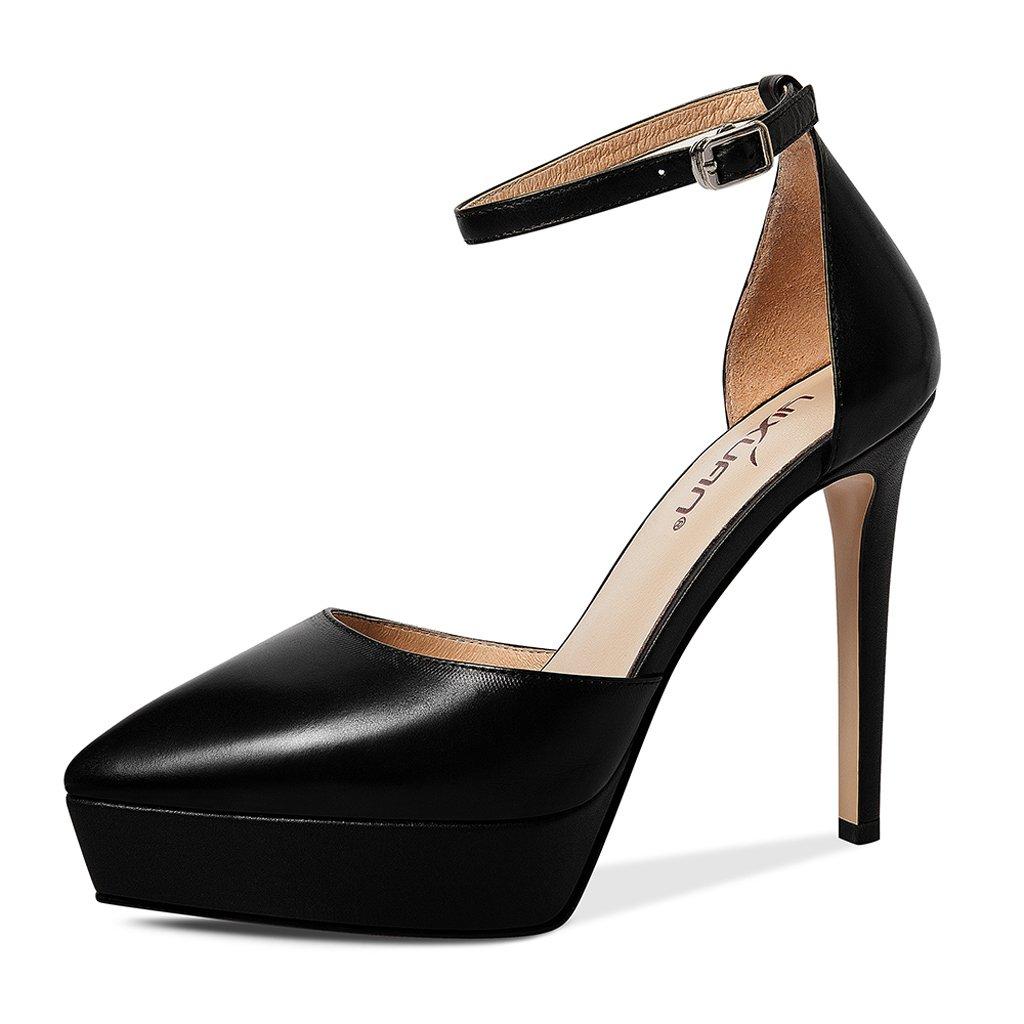 JE schuhe High-Heeled Schuhe mit Hochhackigen Plattform Fine mit Spitzen Schuhe Europa und Amerika (Farbe   Schwarz, Größe   37)