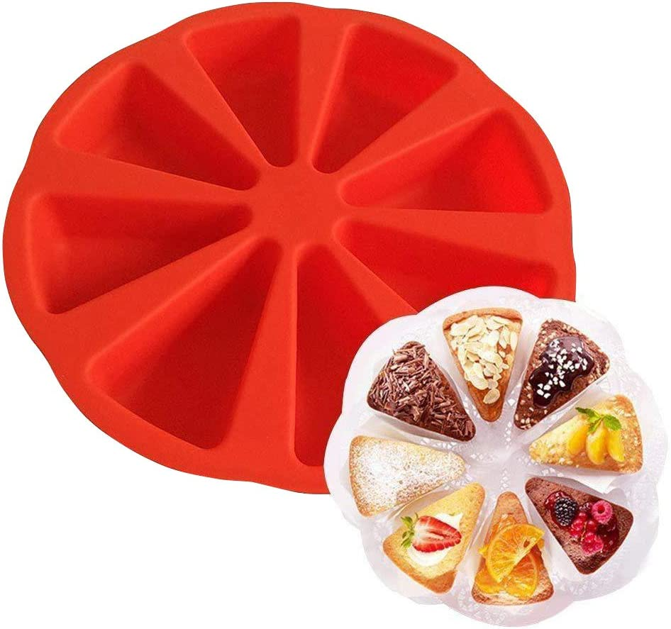 jtxqy 8 Grid Silicone Wedges Cake Mould Individual Portion Pizza Slices Kitchen Tool