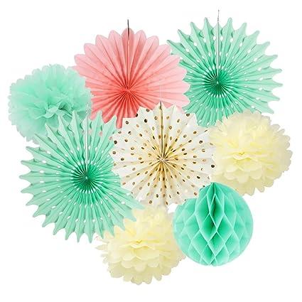 Amazon Com Party Paper Fans Decoration Pom Poms Flowers Kit For